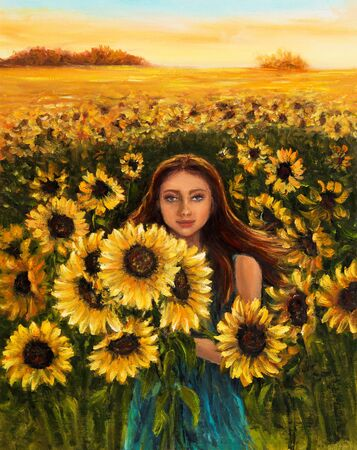 Original oil painting of young woman in sunflowers field on canvas.Modern Impressionism Stock Photo