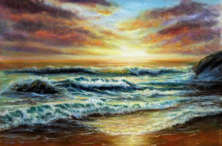 Original  oil painting of beautiful golden sunset over ocean beach on canvas.Modern Impressionism, modernism,marinism