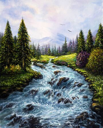 Original  oil painting of beautiful spring forest,mountains  and river  on canvas.Modern Impressionism, modernism,marinism  Stockfoto