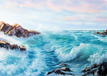 Original oil painting showing waves in  ocean or sea on canvas. Modern Impressionism, modernism,marinism  Фото со стока