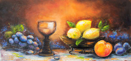 Original oil still life painting of grapes, peach, plums and lemons on canvas.Modern Impressionism, modernism,marinism Banque d'images