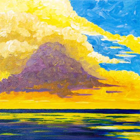 Original acrylic painting of beautiful golden sunset over ocean on canvas.Modern Impressionism, modernism,marinism