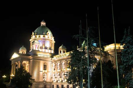 Parlament in Belgrade, Serbia. Nightview Editorial
