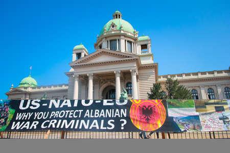 Protest in fomt of parlament in Belgrade, Serbia.