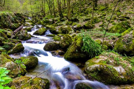 Flowing water over rocks in Nature park Papuk, Jankovac. Croatia, Europe