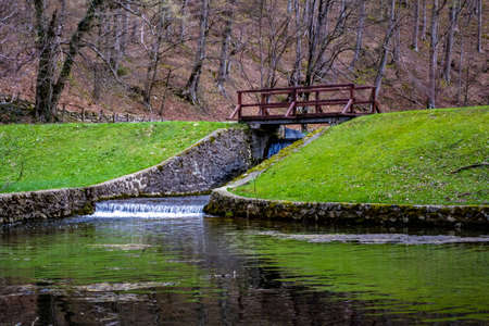 Wooden bridge in Nature park Papuk, Jankovac. Croatia, Europe