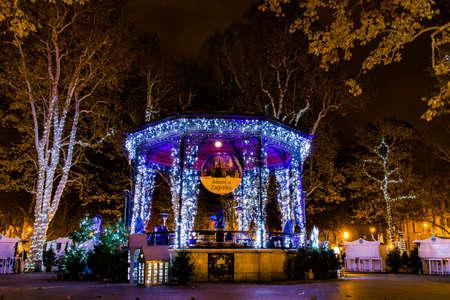 Zagreb, Croatia: 14th December 2018 / Decorated Pavillion in Zrinjevac park, Zagreb Advent Best Christmas market in Europe Редакционное