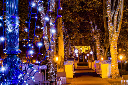Zagreb, Croatia: 14th December 2018  Decorated trees and houses in Zrinjevac park, Zagreb Advent Best Christmas market in Europe