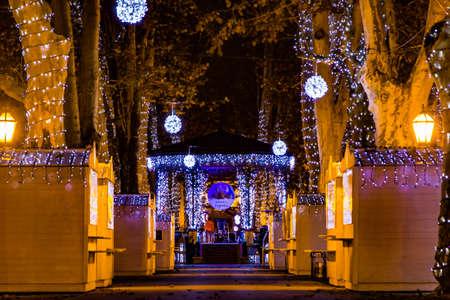 Zagreb, Croatia: 14th December 2018  Decorated Pavillion in Zrinjevac park, Zagreb Advent Best Christmas market in Europe