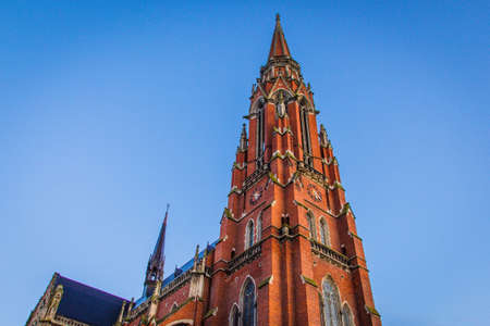 Osijek / Croatia: 10th May 2019: Cathedral pike, details and ornaments of Osijek cathedral