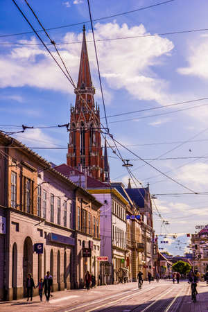 Osijek / Croatia: 10th May 2019: Street view on cathedral in Osijek