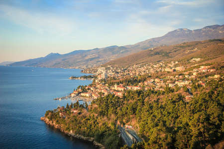 Opatija, Croatia  27th march 2019: High angle view on costal line on town Opatija in Kvarner riviera