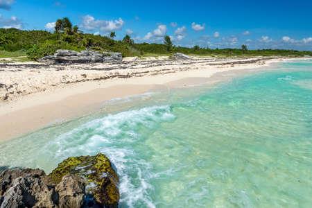 carmen: Caribbean Sea scenery in Playa del Carmen, Yucatan, Mexico