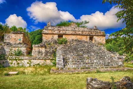 cultura maya: Ek Balam Maya sitio arqueol�gico. Ruinas Maya, Pen�nsula de Yucat�n, M�xico Foto de archivo