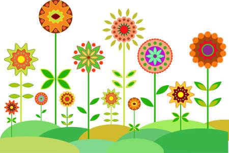 Flower Garden, Flower Vector, Multicolored Flowers Vector