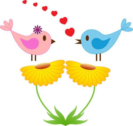 Pink and BlueSinging  Birds, Yellow Flowers, Vector
