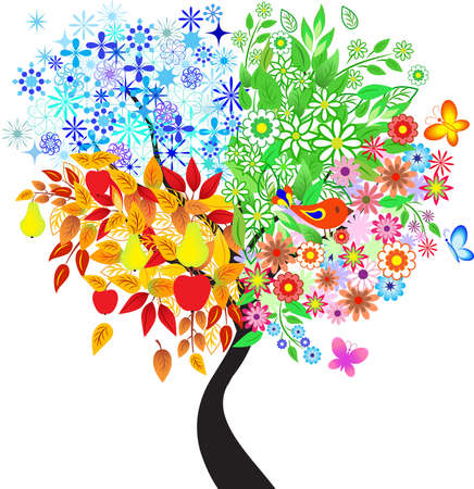 Seasons Tree, Multiseasons Tree Vector Illustration
