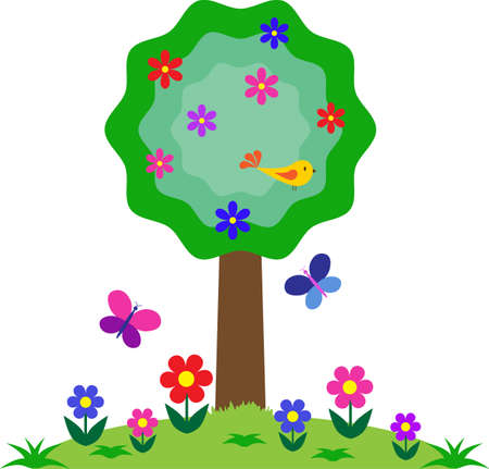 Flower, Bird and Butterflies Tree, Tree Vector