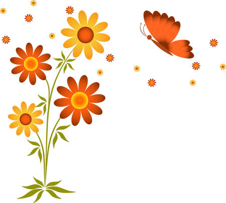 Yellow Brown Flowers and Butterfly