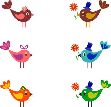 Multicolored Birds Vectors, Birds Vector
