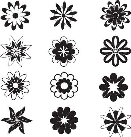 黒い花、白い花  イラスト・ベクター素材