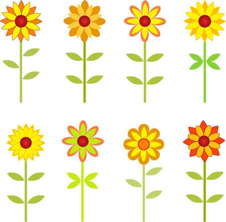 ヒマワリ、花ベクトル秋ひまわり
