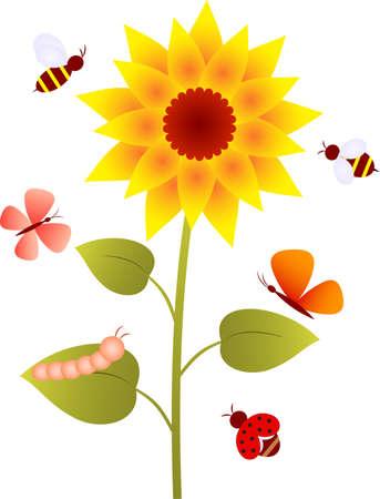 Sunflower, Flower Vector, Butterflies 向量圖像