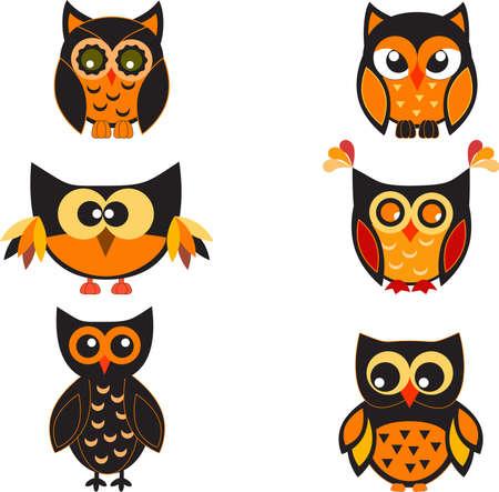 Owls, Vector Owls Illusztráció