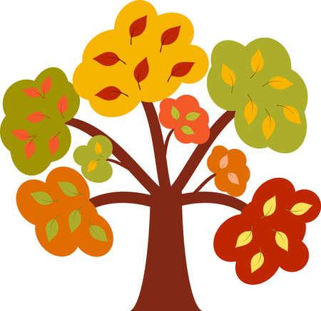 arbre automne: Multicolores Arbre d'automne Illustration