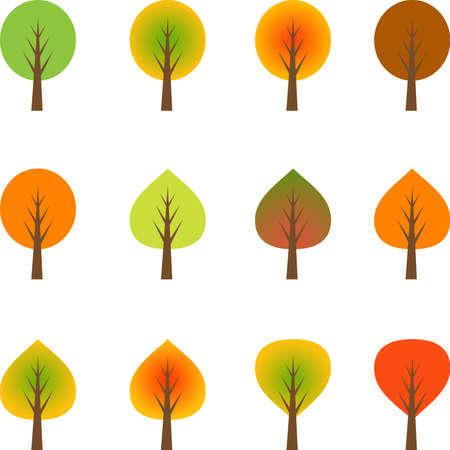 Fall Trees, Multicolor Autumn Trees, Trees Vector