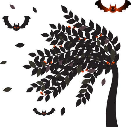 boom halloween: Black Leaves  Halloween Tree and Bats