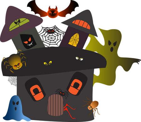 Haunted Halloween Maison vectorielle, Haunted House Illustration Banque d'images - 32365864