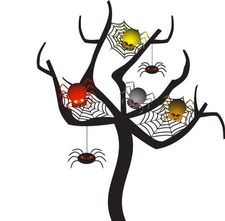 Spooky Spider Web Tree, Spider Vectors