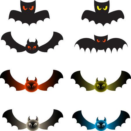 Isolated Color Bats, Bat Vectors