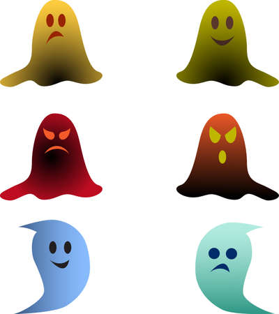 Isolated Color Ghosts Vectors on White Background