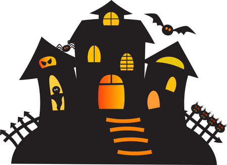 haunted house: Black Haunted Ghost House Vector