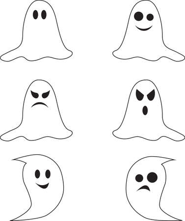 Isolated Black and White Spooky Ghosts Vectors