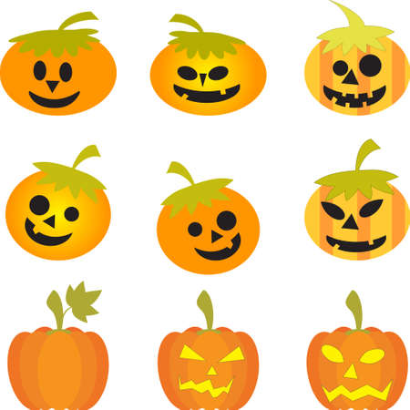 Pumpkins, Isolated Pumpkin Vectors on White Background