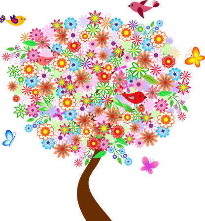Summer Flower Tree with Birds and Butterflies, Flower Tree Vector
