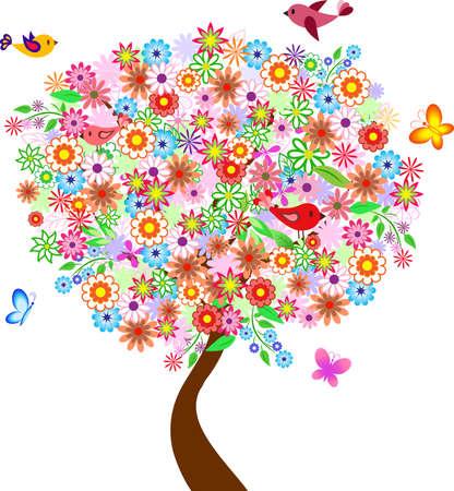 Summer Flower Tree with Birds and Butterflies, Flower Tree Vector