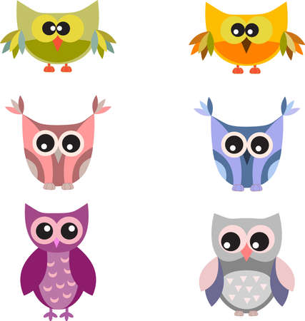 Isolated Owl Vectors on White Background