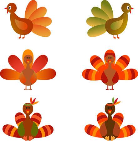 Isolated Turkey Vectors on White Background