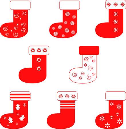 절연 레드 장식 크리스마스 스타킹 일러스트
