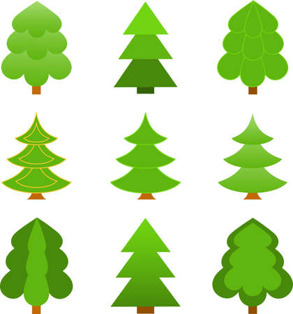 Isolated Green Christmas Tree Vectors on White Background