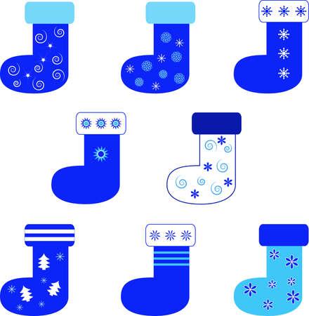 Isoliert Blue Christmas Stockings Vektoren auf weißem Hintergrund Standard-Bild - 33334109