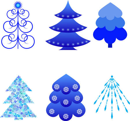 Isolated Blue Christmas Tree Vectors