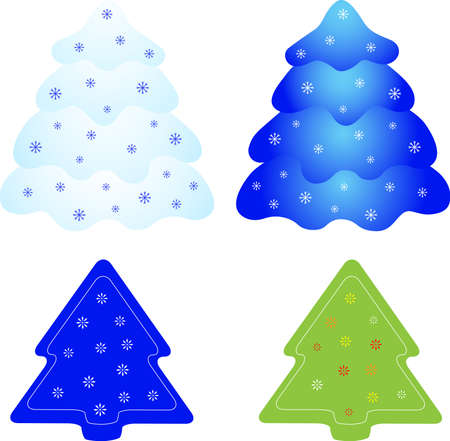 Isolated Christmas Tree Vectors