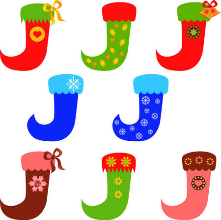 christmas stocking: Isolated Christmas Stocking Vectors