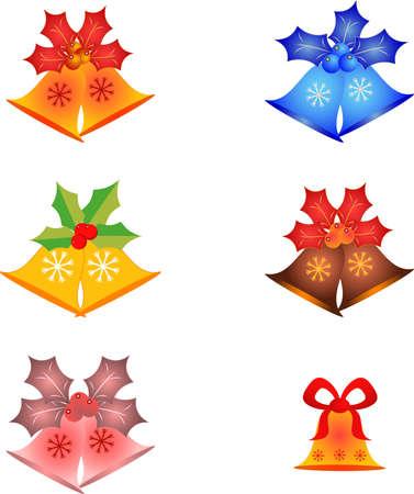 Isolated Christmas Bells and Mistletoes Vectors Иллюстрация