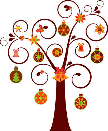 nontraditional: Isolated Nontraditional Christmas Tree with Ornaments Vector